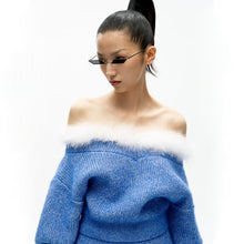 Load image into Gallery viewer, angel chen blue mohair knit cropped sweater