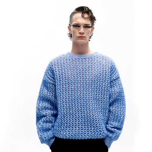 angel chen blue mohair pointelle round neck pullover