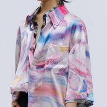 Load image into Gallery viewer, angel chen pink pastel marble print beach shirt detail