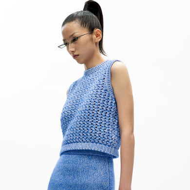 angel chen blue mohair crew neck cropped knit tank top