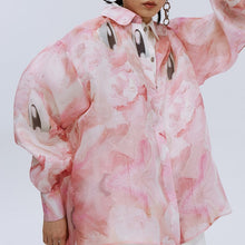Load image into Gallery viewer, angel chen pink print ballon sleeves shirt detail
