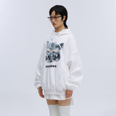 angel chen big boss print cotton hoodie outfit