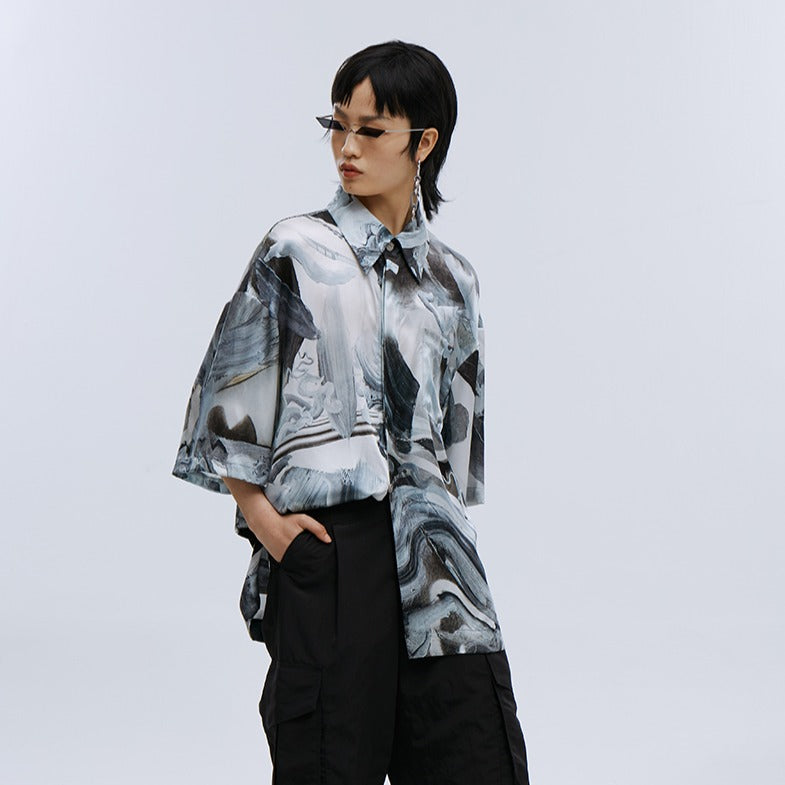 angel chen grey marble print beach shirt