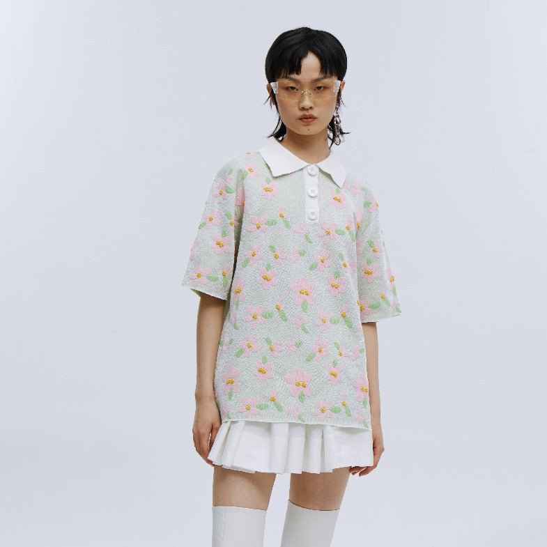 angel chen floral jacquard short sleeves polo shirt