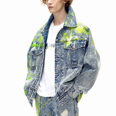 angel chen splashed washed denim jacket