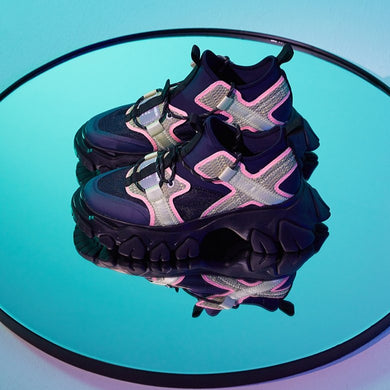 angel chen dragon teeth sneakers navy and pink