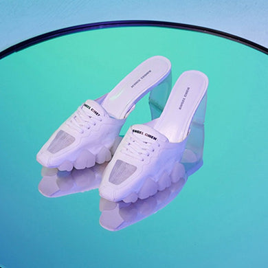 angel chen dragon teeth lace up mules white