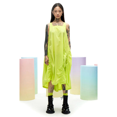 angel chen sleeveless a-line dress green