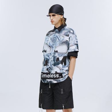 angel chen grey marble print cotton t-shirt with shorts outfit