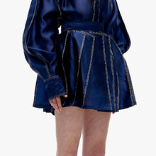 Load image into Gallery viewer, angel chen blue shimmer finish 3D pleat mini skirt