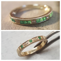Emerald and Diamond gold ring handmade in Melbourne