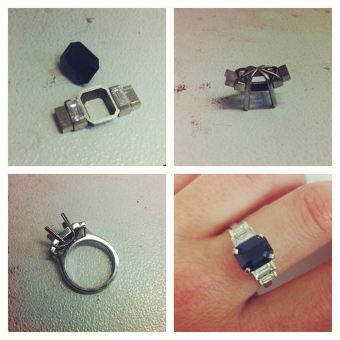 Process photos of a commissioned ring