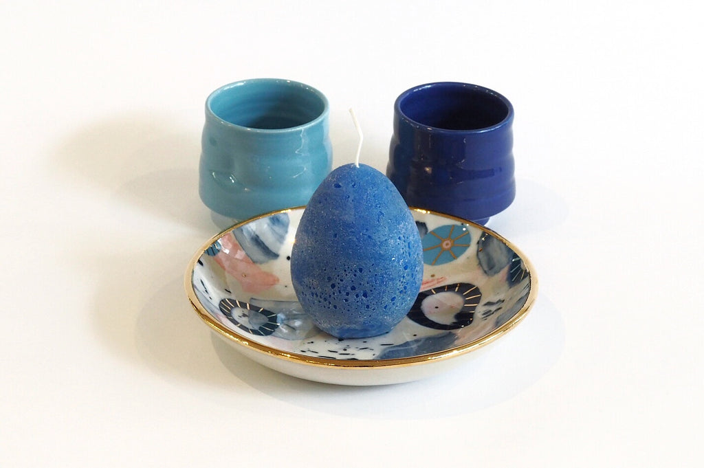 Blue Ceramics and Candle Set