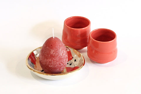 Red Ceramics and Candle Set