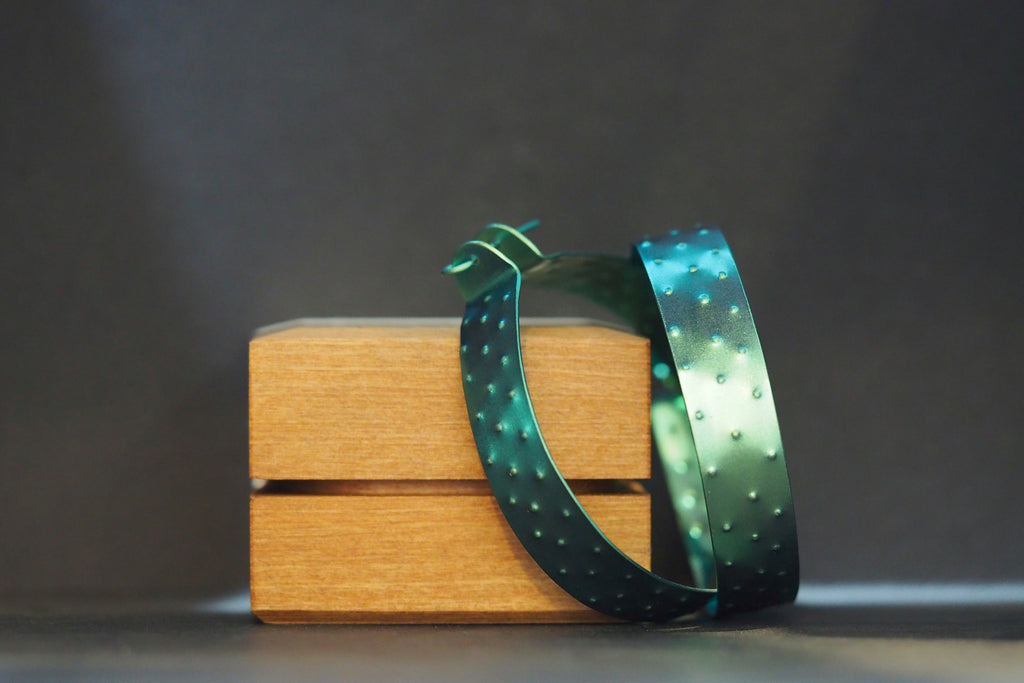 Small Green Textured Hoops