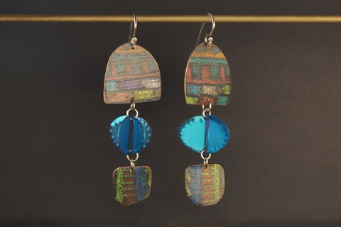 Blue Pencil Titanium Drop Earrings