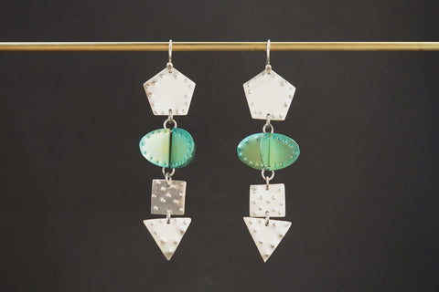 Green and Silver Titanium Earrings
