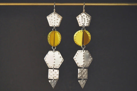 Yellow and Silver Titanium Earrings