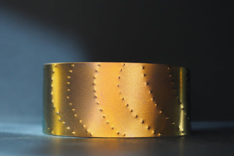 Pink and Gold Textured Titanium Cuff