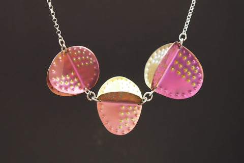 Pink and Gold Titanium Shapes Necklace