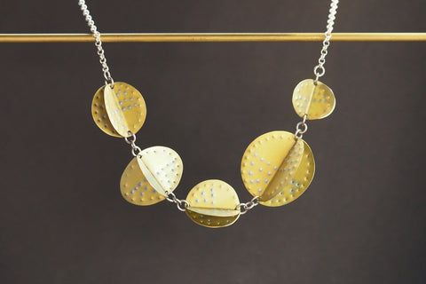 Golden Titanium Shapes Necklace