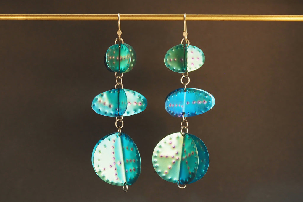 Aqua Textured Earrings