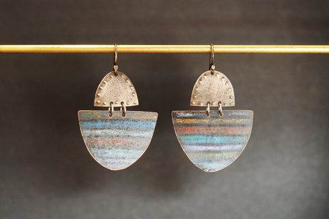 Colouring Pencil and Copper Earrings