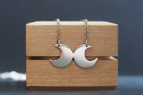 Double Moon Necklace Silver