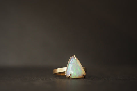 Gold Claw Set Opal Ring