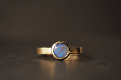 Gold Round Opal Ring