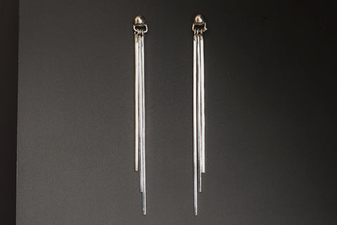 Three Bar Silver Earrings