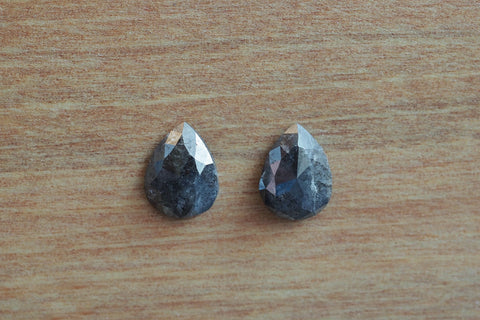 Rose Cut Salt and Pepper Diamond Pair