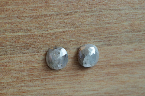 Rose Cut Salt and Pepper Diamonds Pair