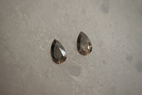 Pair of Salt and Pepper Pear Cut Diamonds