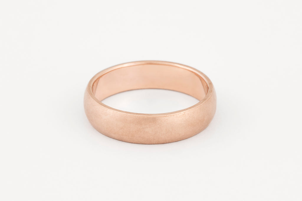 Wedding Ring, 9c Rose Gold Half Round Profile