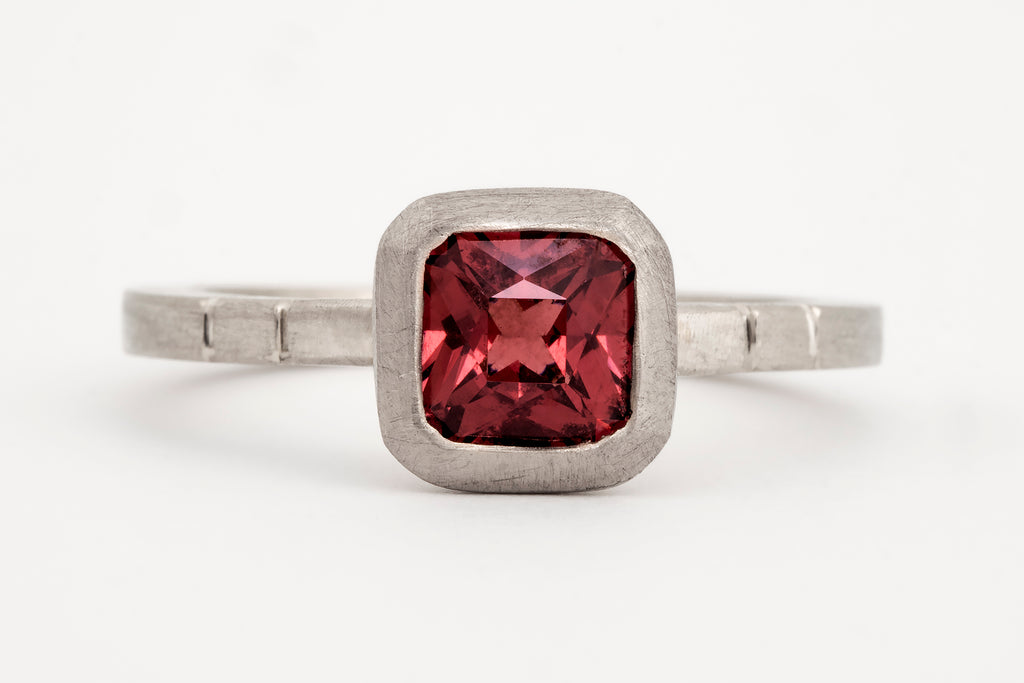 Roman Burmese Spinel Solitaire Ring White Gold