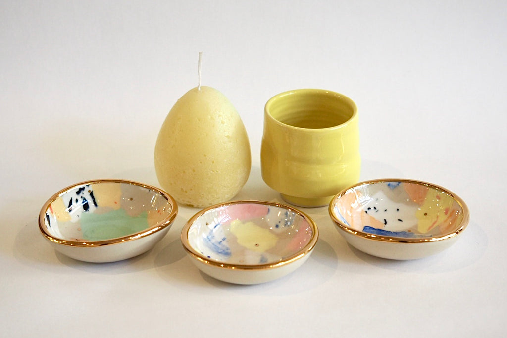 Yellow Ceramics and Candle Set