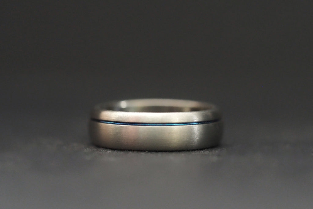Titanium Blue Stripe Ring