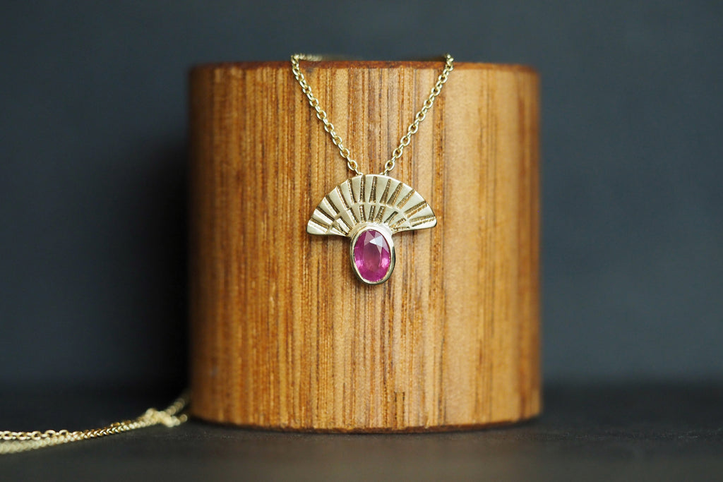 Ruby Fan Out Pendant In Gold