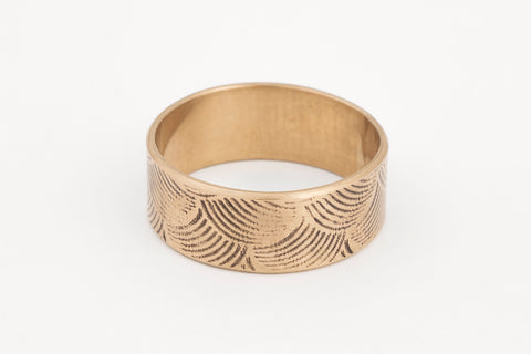 Japanese Wave Print Ring Yellow Gold