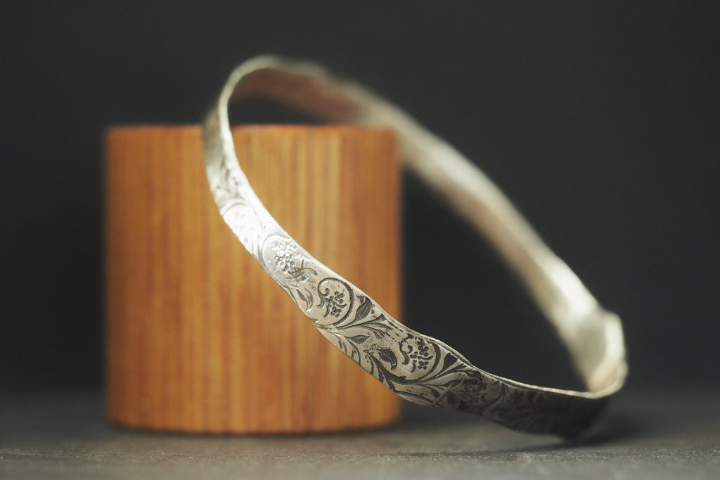 Oxidised Sterling Silver Swirl Bangle
