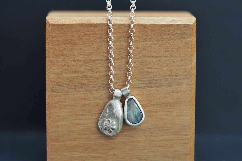 Silver Opal Flower Necklace