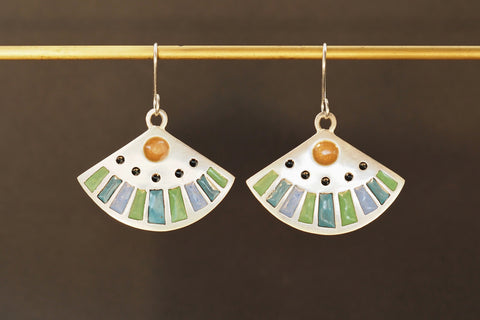 Enamel Fan Earrings