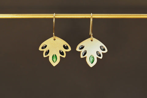 Enamel Indian Leaf Earrings