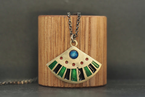 Enamel Fan Shaped Pendant