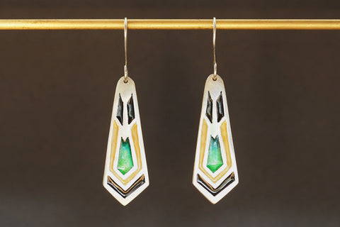 Long Enamel Art Deco Earrings