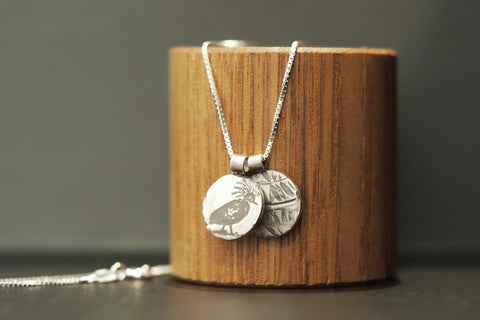 Silver Leaves and Bird Necklace