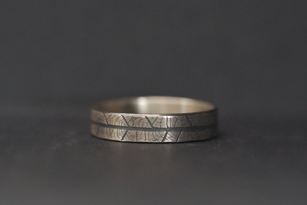 Oxidised Leaf Print Ring