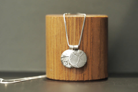Silver blossom and Japanese Wave Necklace
