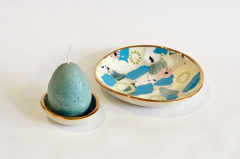 Teal Ceramics and Candle Set